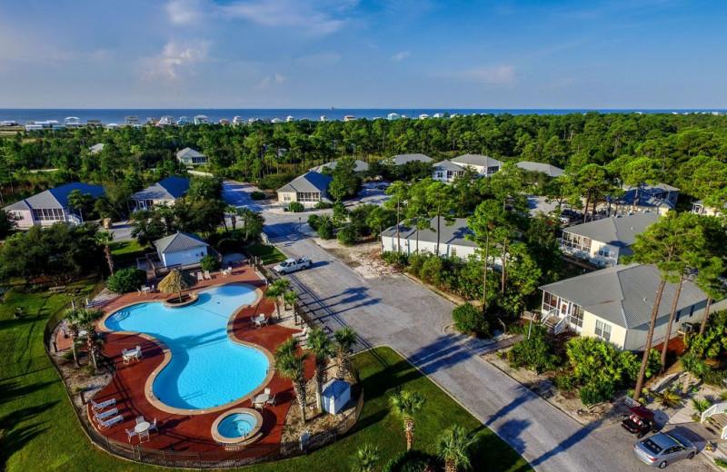 Aerial view of Luna Beach Properties.