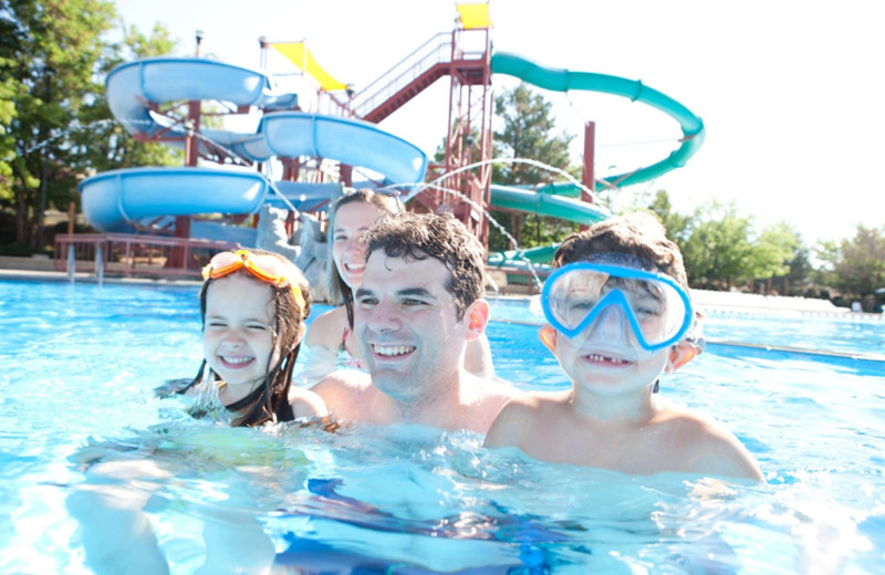 Family in swimming pool at Kah-Nee-Ta Resort and Spa.