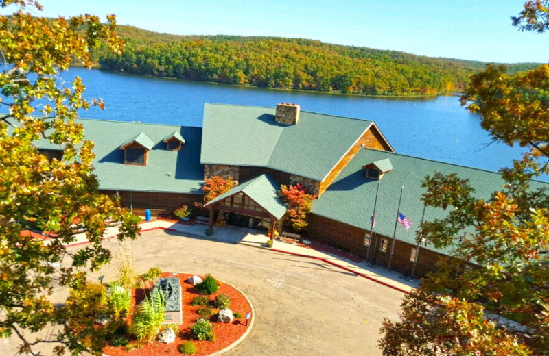 Aerial view of YMCA Trout Lodge & Camp Lakewood.