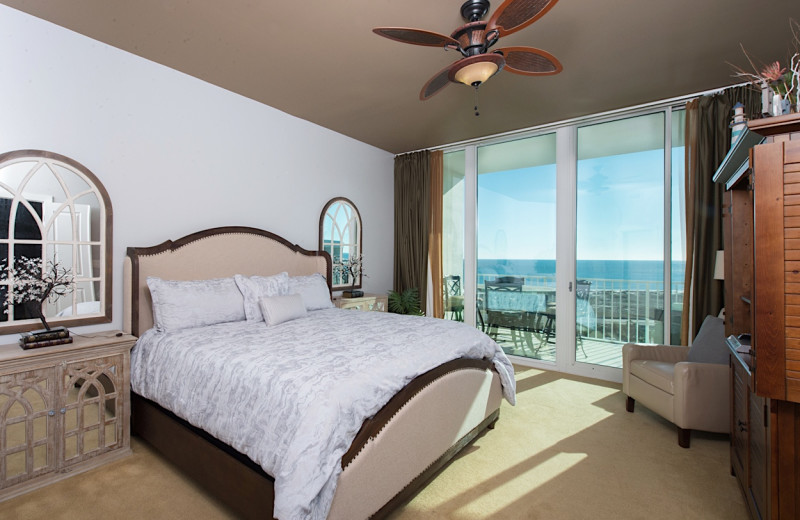 Rental bedroom at Sunset Properties.