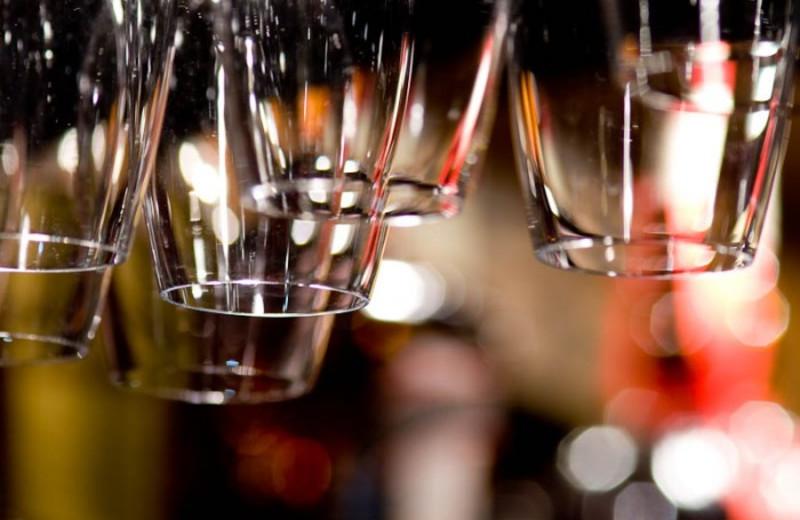 Wine glasses at White Buffalo Club.