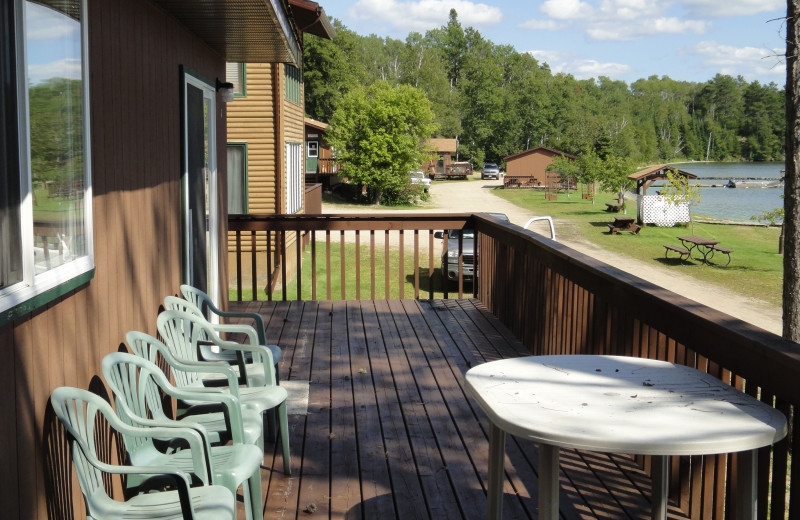 Cabin balcony at Clark's Resorts & Outposts.