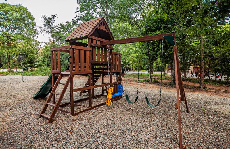 Rental playground at Blue Beaver Luxury Cabins.