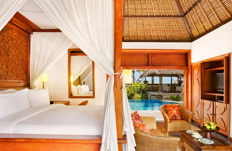 Guest room at The Oberoi Bali.