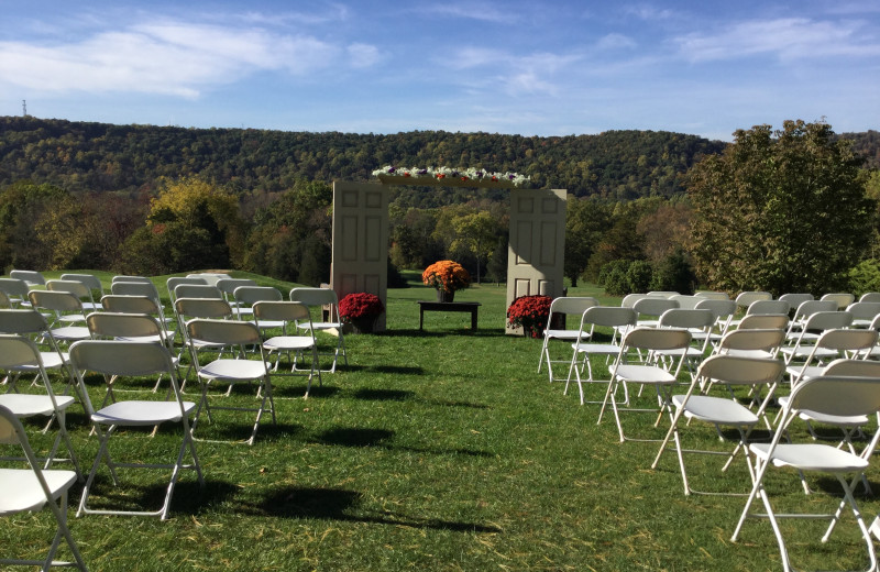 Wedding ceremony at Water Gap Country Club.