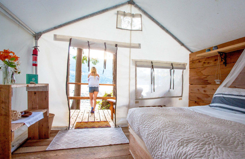 Yurt interior at Wilderness Resort & Retreat.