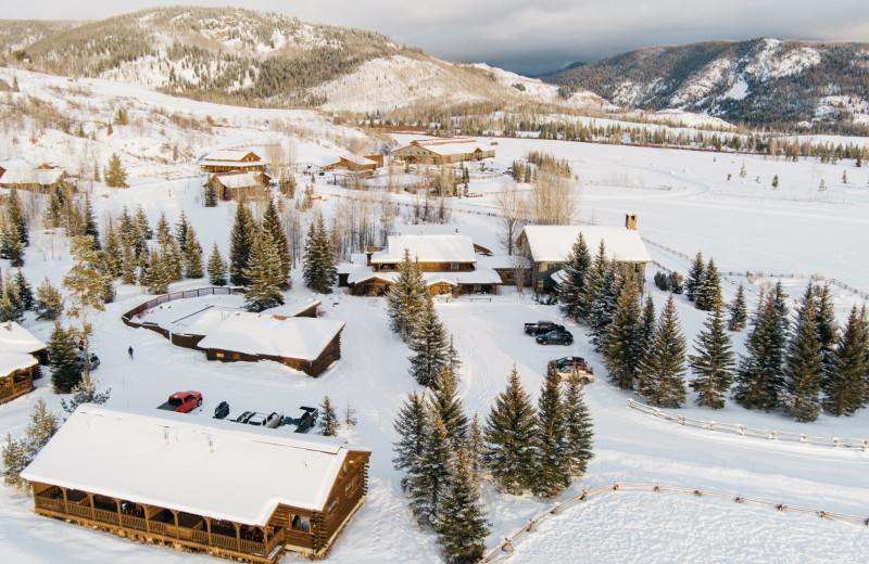Winter aerial at Vista Verde Ranch.