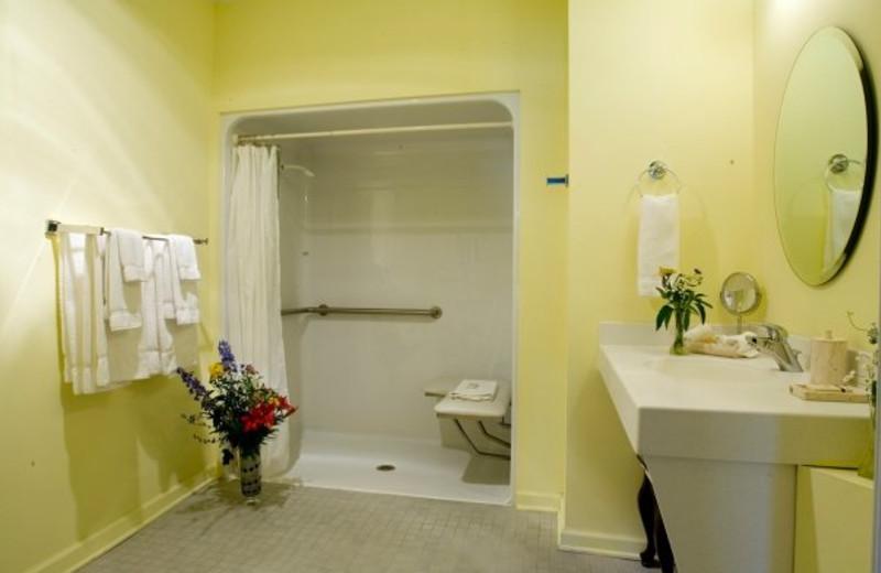 Guest bathroom at La Tourelle Resort & Spa.