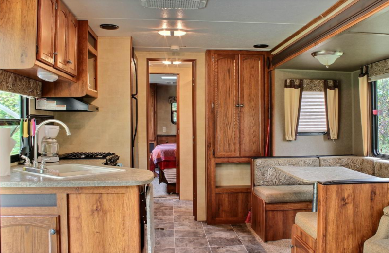Trailer interior at Whaley's Resort & Campground.