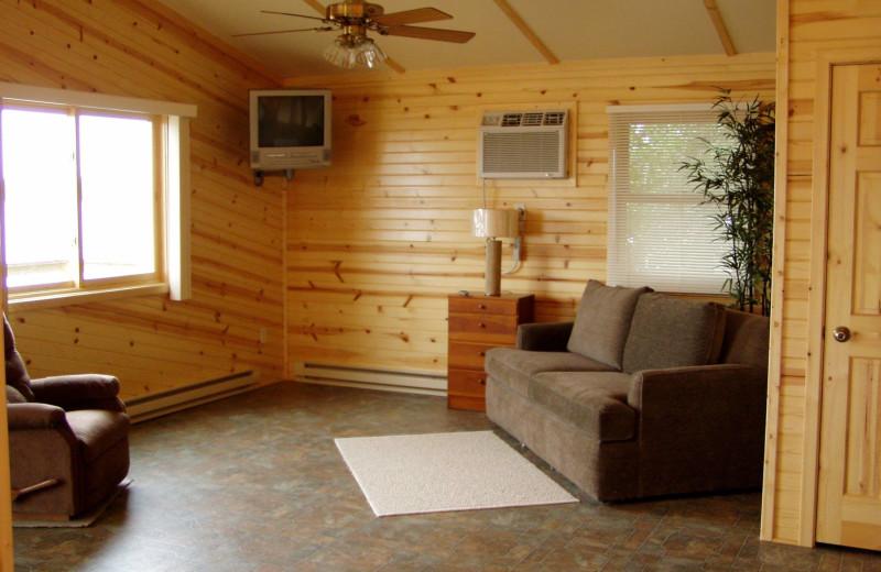 Cabin living room at Eden Acres Resort.