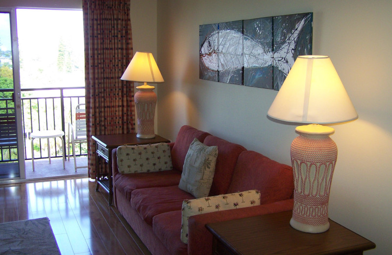 Rental living room at Madeira Bay Resort.