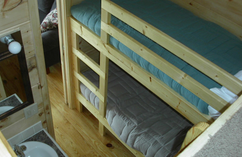 Cabin bunk beds at Edinboro Lake Resort.