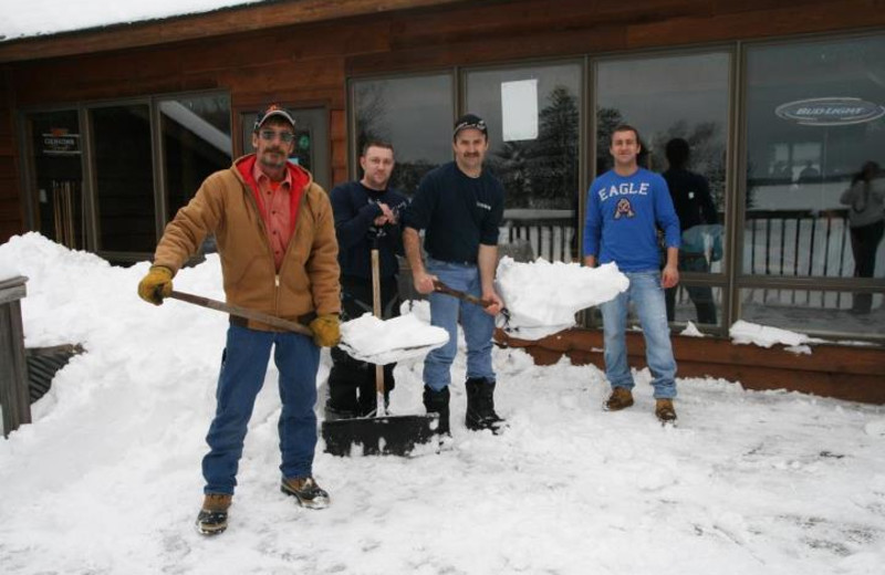 Clearing snow at Lakewoods Resort.