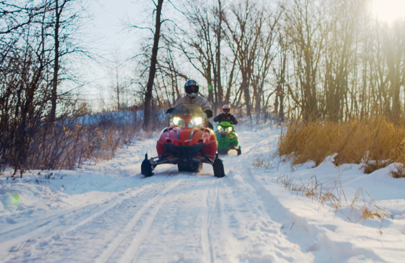 Snowmobiling at Seclusion Point Campground.