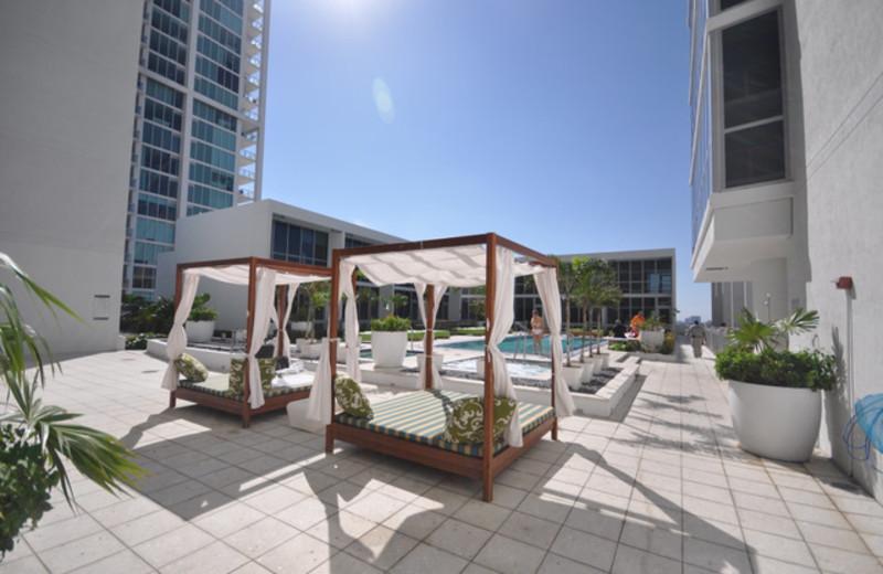 Poolside beds at Casa Moderna Miami.