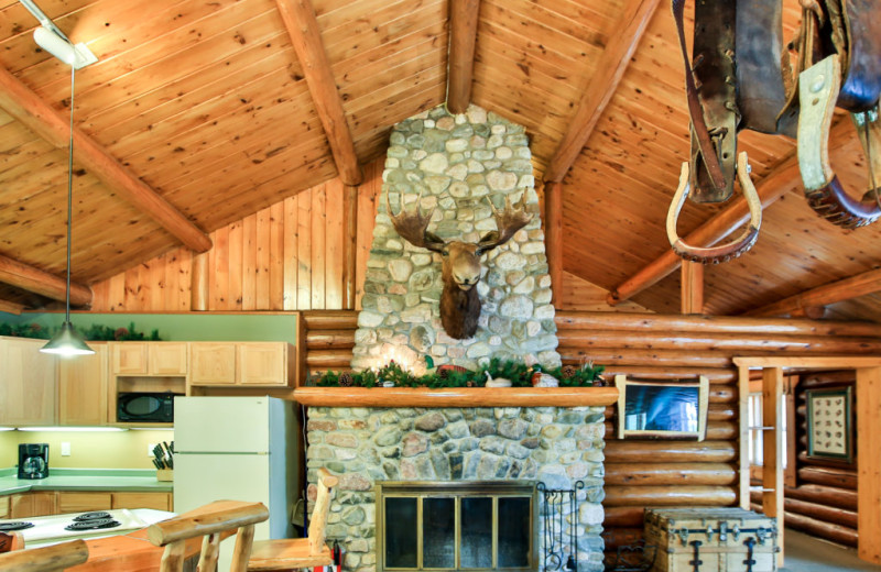Cabin fireplace at Northern Lights Resort & Outfitting.