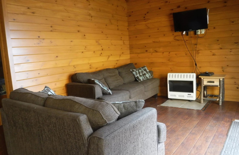 Cottage living room at Riverbay Adventure Inn.