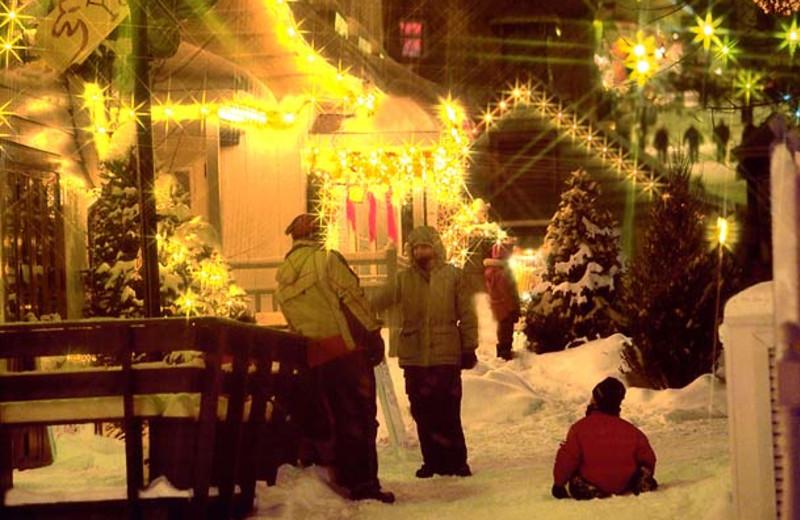 The resort lit up at night at Residence Inn Mont Tremblant Manoir Labelle.