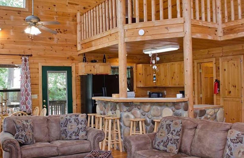 Cabin living room at Lake Mountain Cabins.