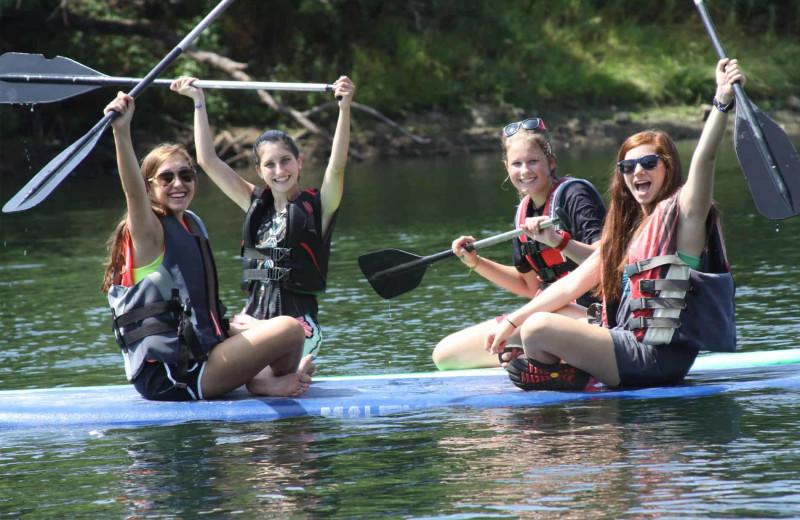 Paddle boarding at Camp Balcones Spring.