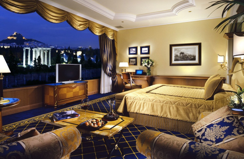 Guest room at Royal Olympic Hotel.