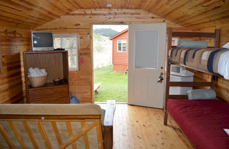 Cabin interior at No Name City Luxury Cabins.