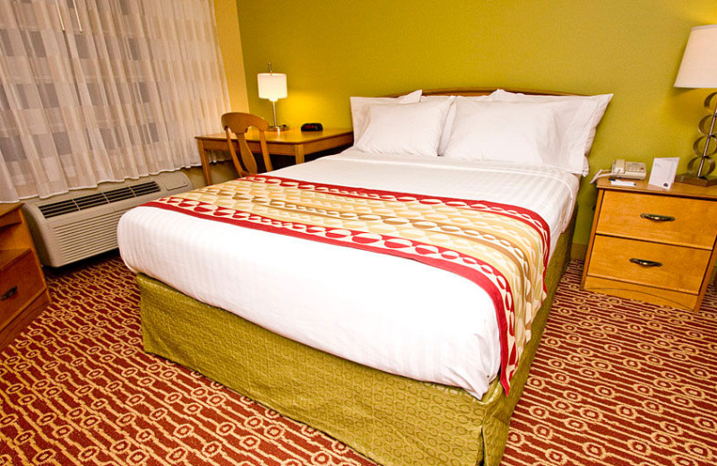 Guest room at TownePlace Suites Fresno.