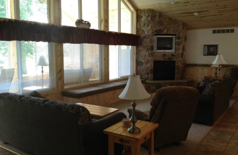 Cabin living room at Weslake Resort.