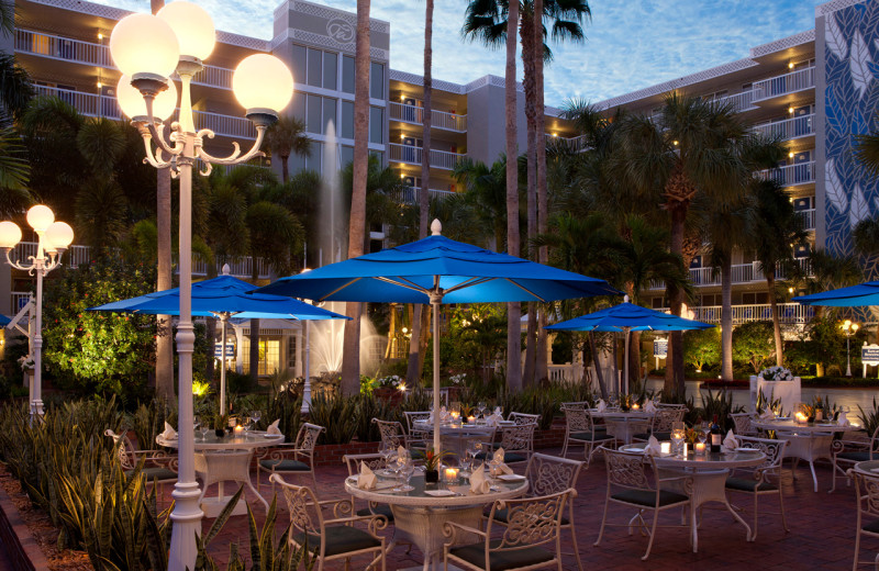Patio dining at TradeWinds Island Grand.