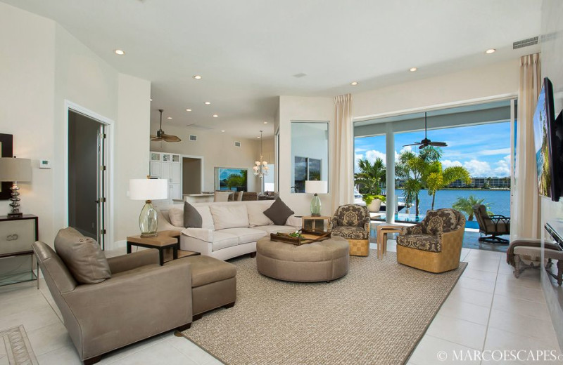 Rental living room at Marco Escapes.