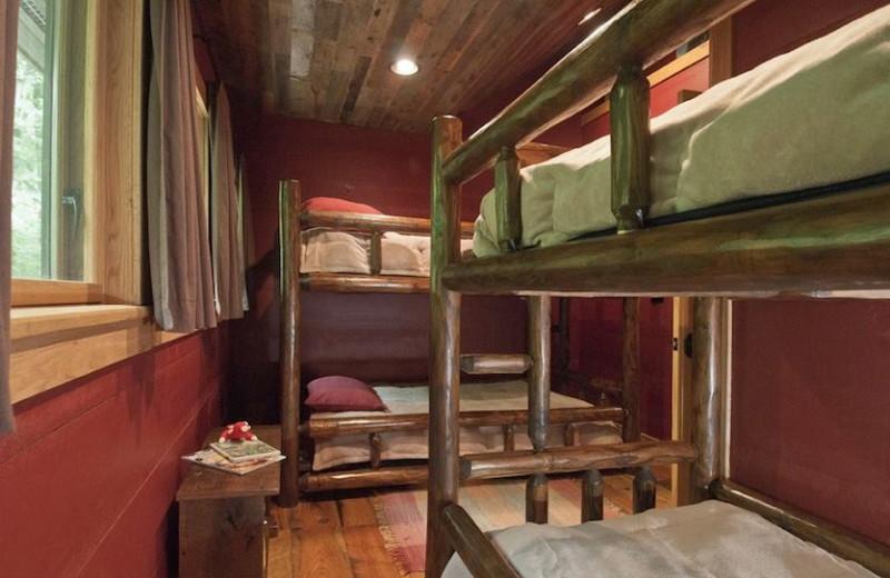 Bunk beds at Nantahala River Lodge.