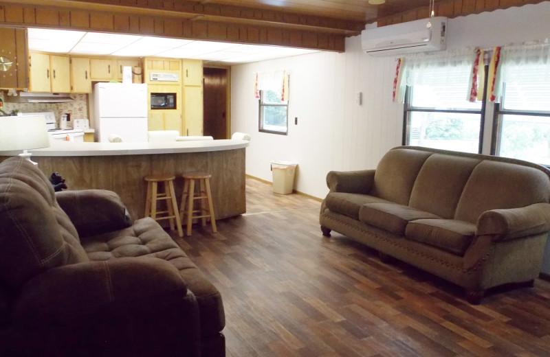 Cabin interior at Copper John's Resort.