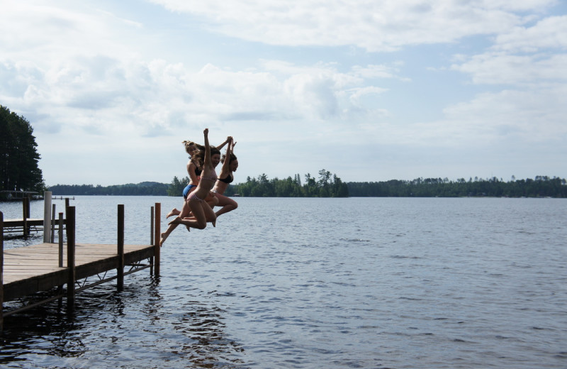Jumping off dock at White Eagle Resort.