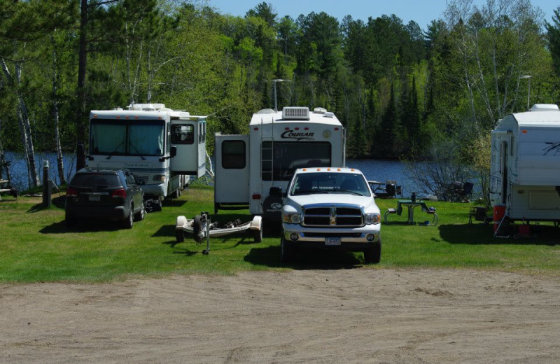 Campground at Mattila's Birch Lake Resort.