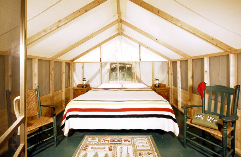 Tent bedroom at Bartlett Lodge.