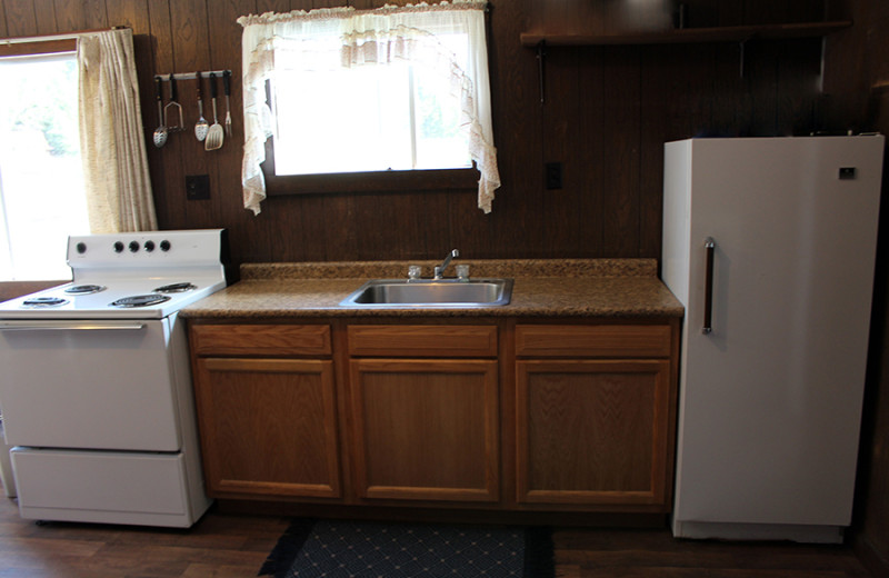 Cabin kitchen at Cliff Lake Resorts.