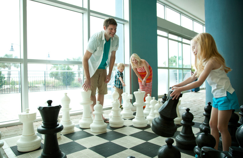 Family giant chess at Bay View Resort.