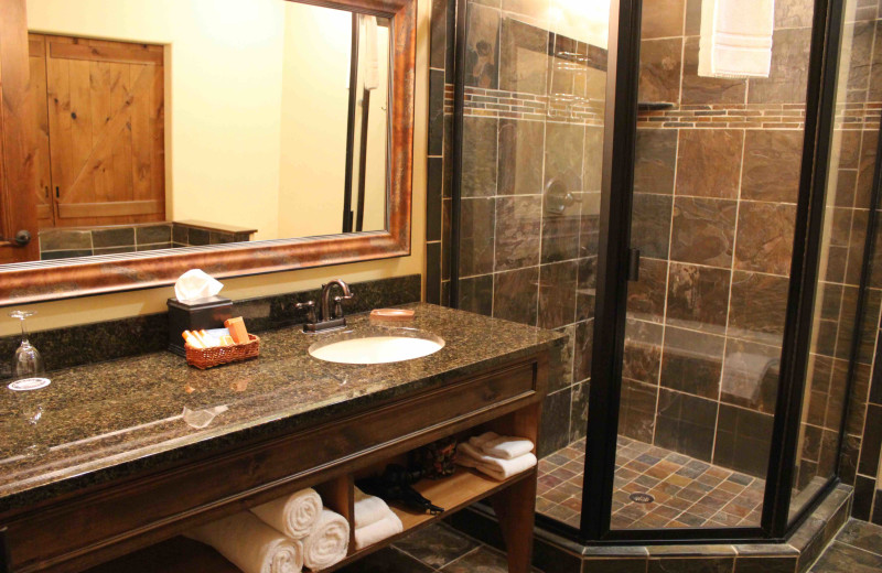 Guest bathroom at The Lodge at Whitefish Lake.