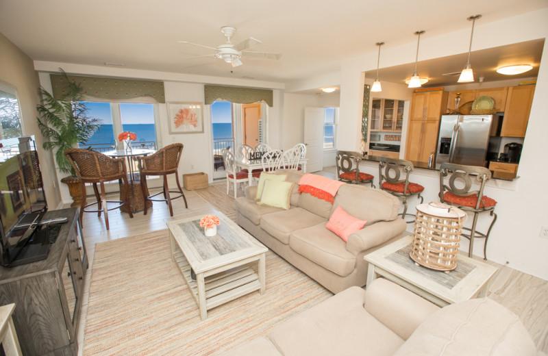 Rental living room at Sanctuary Vacation Rentals at Sandbridge.