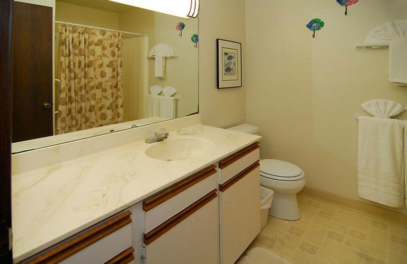 Vacation rental bathroom at Hale Kamaole Condos.
