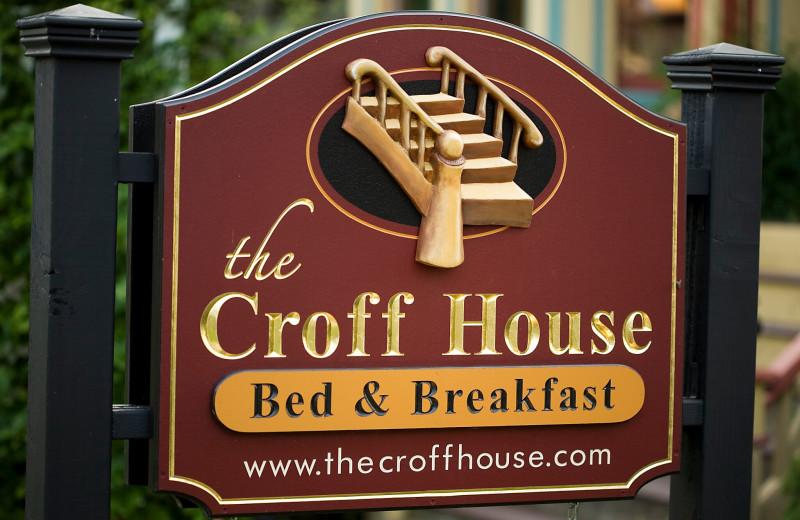Welcome sign at Croff House Bed & Breakfast.