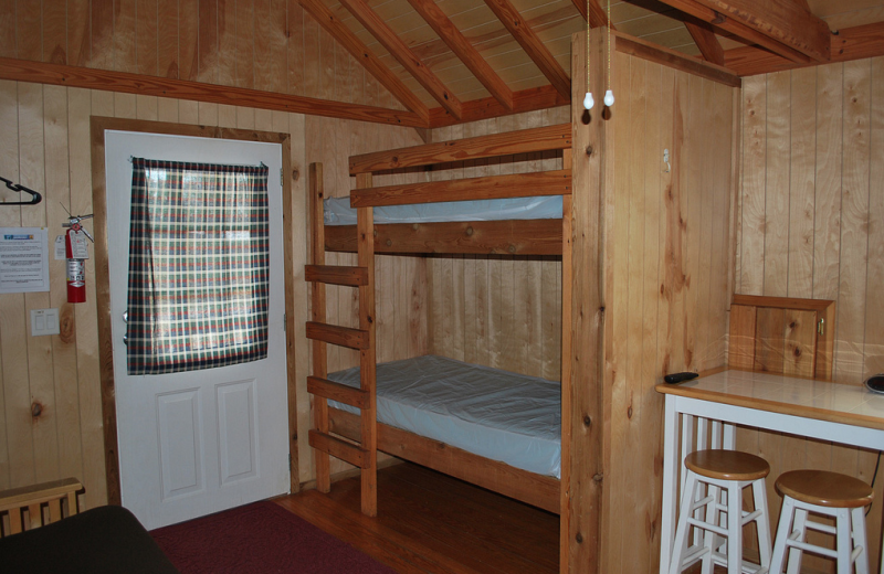 Cabin bunk beds at Gulf Pines RV Park.