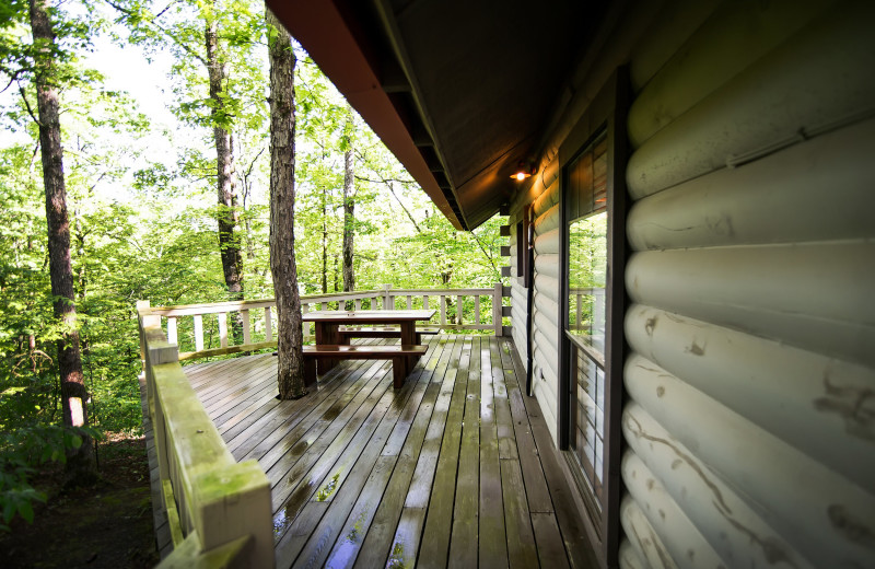 Cabin porch at Kiamichi Country Cabins.