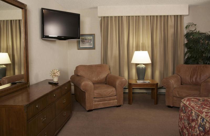 Guest room at Sophie Station Suites.