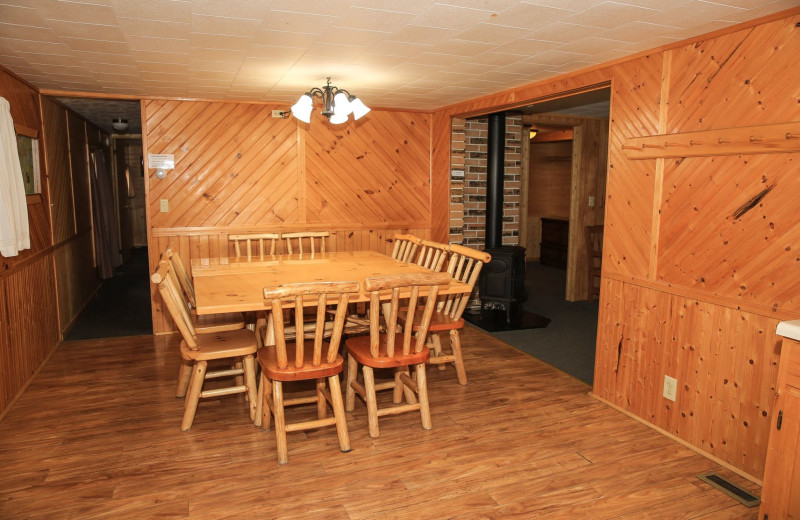 Cabin dining room at Timber Trail Lodge & Resort.