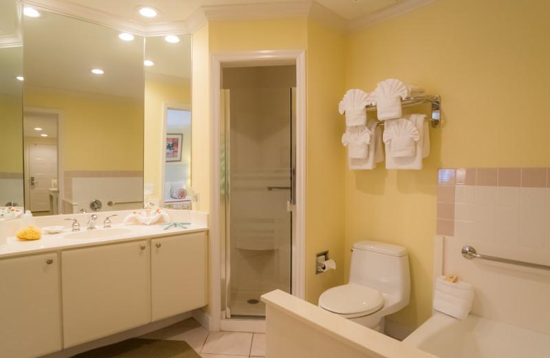 Guest bathroom at Inn At The Beach Resort.