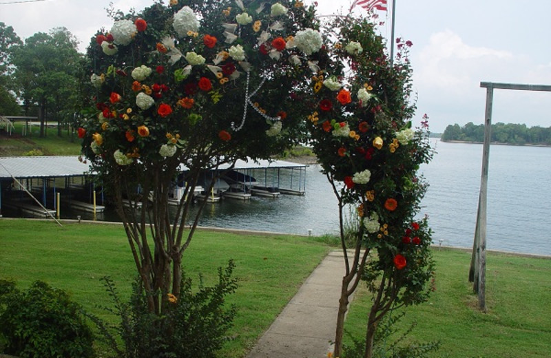 Wedding flower arrangement at Paradise Cove Marine Resort.
