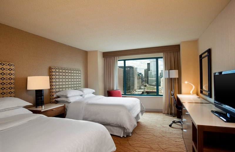 Guest room at Sheraton Chicago Hotel & Towers.