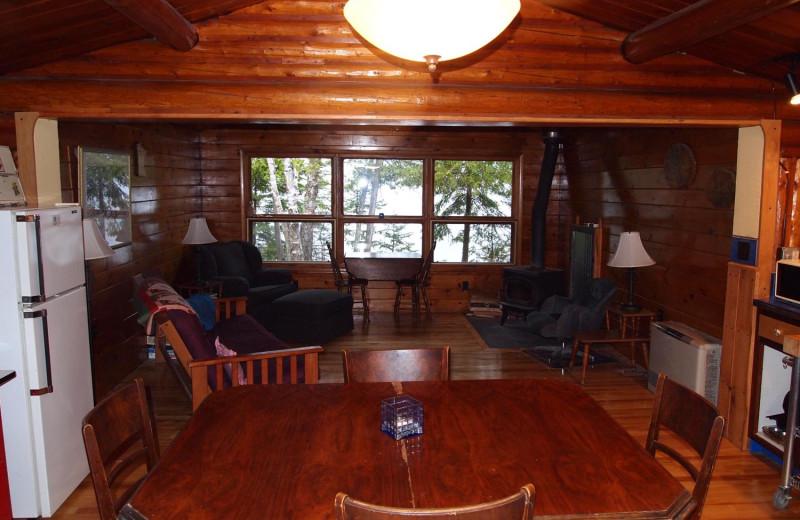 Cabin interior at Heston's Lodge.