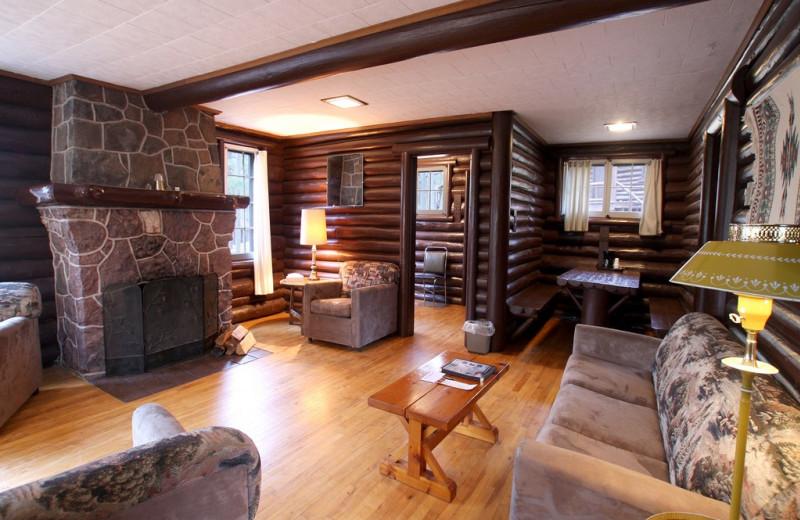 Cabin living room at Keweenaw Mountain Lodge.
